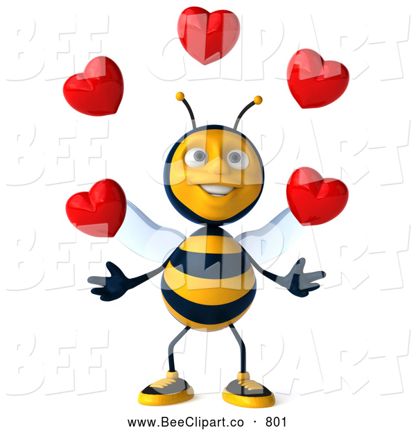 Clip Art of a Friendly 3d Bee Character Juggling Hearts