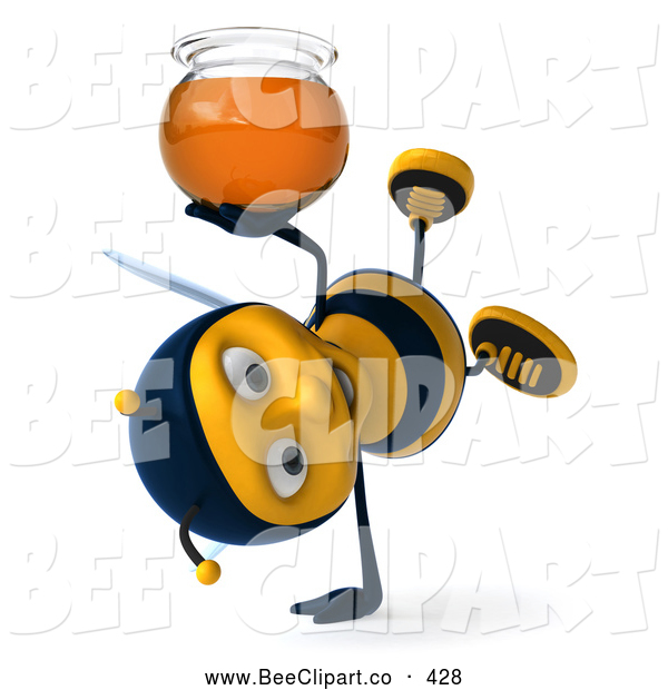 Clip Art of a Friendly 3d Bee Doing a Cartwheel with Honey