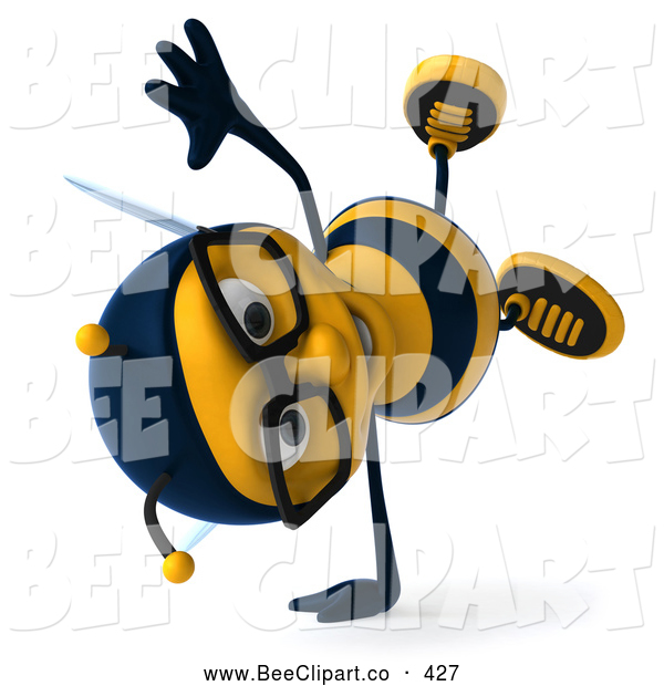 Clip Art of a Friendly 3d Bee Wearing Glasses and Doing a Cart Wheel