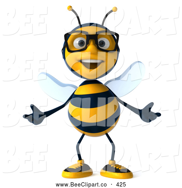 Clip Art of a Friendly 3d Bee Wearing Glasses and Gesturing Front