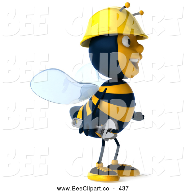 Clip Art of a Friendly 3d Worker Bee Facing Right