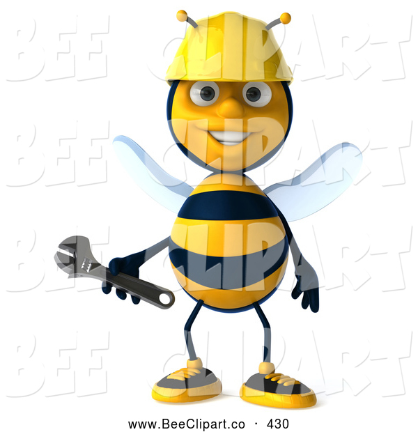 Clip Art of a Friendly 3d Worker Bee Holding a Wrench
