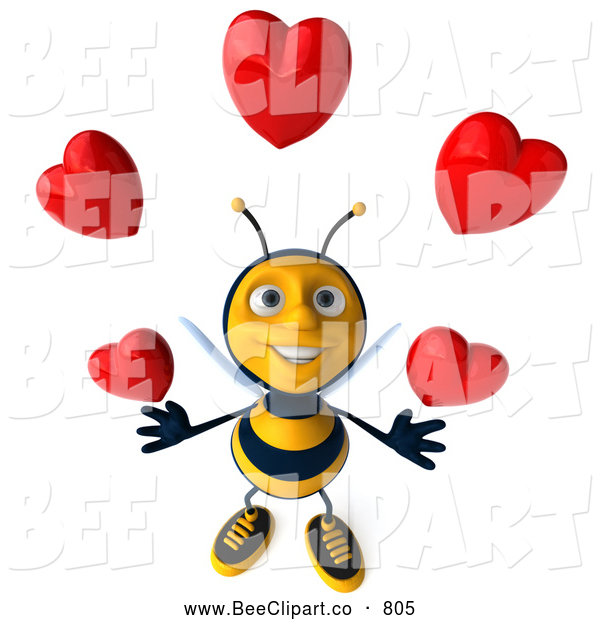 Clip Art of a Grinning 3d Bee Character Juggling Hearts