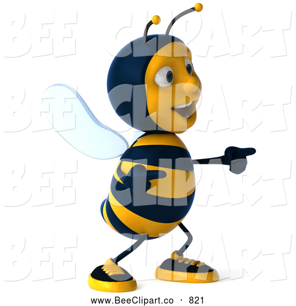 Clip Art of a Grinning 3d Bee Character Laughing and Pointing