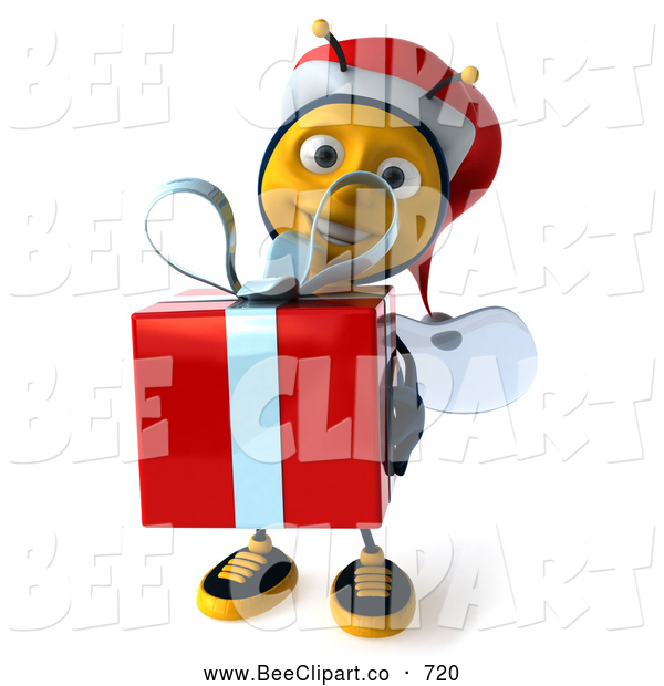 Clip Art of a Grinning 3d Christmas Bee Carrying a Gift