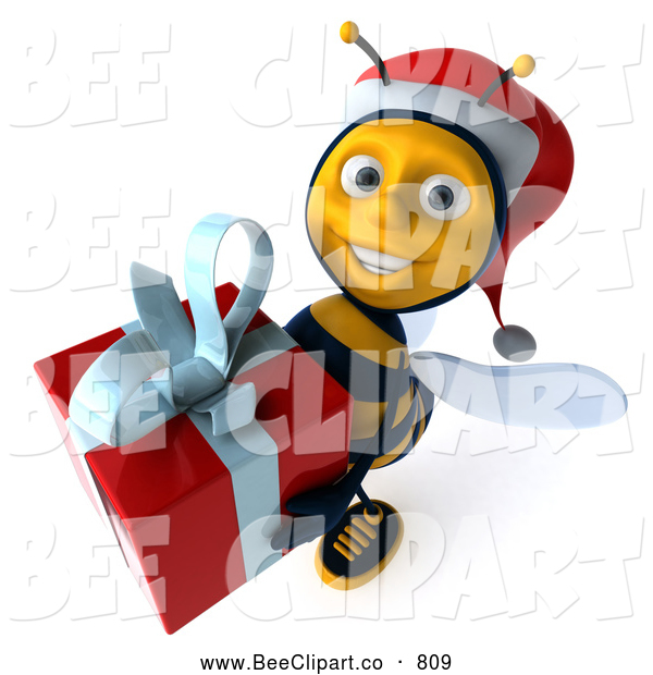 Clip Art of a Happy 3d Bee Character Carrying a Christmas Gift
