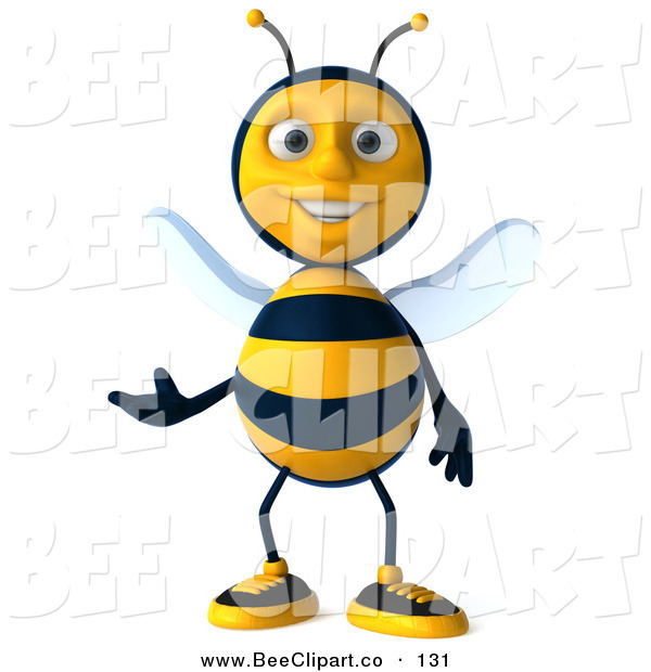 Clip Art of a Happy 3d Bee Character Facing Front and Gesturing