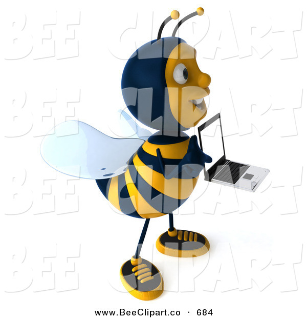 Clip Art of a Happy 3d Bee Character Facing Right with a Laptop