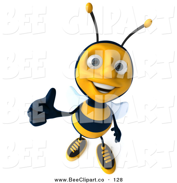 Clip Art of a Happy 3d Bee Character Holding a Thumb up and Smiling