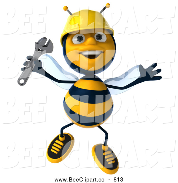 Clip Art of a Happy 3d Bee Character Holding a Wrench