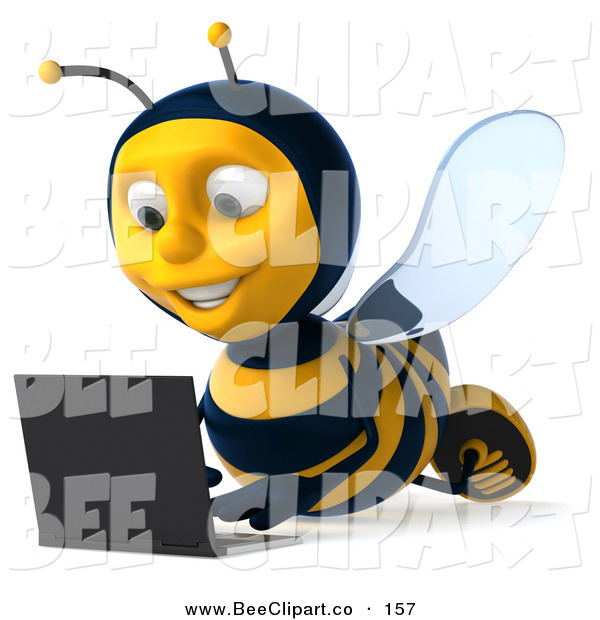 Clip Art of a Happy 3d Bee Character Laying on the Floor and Using a Laptop, Facing Slightly Left
