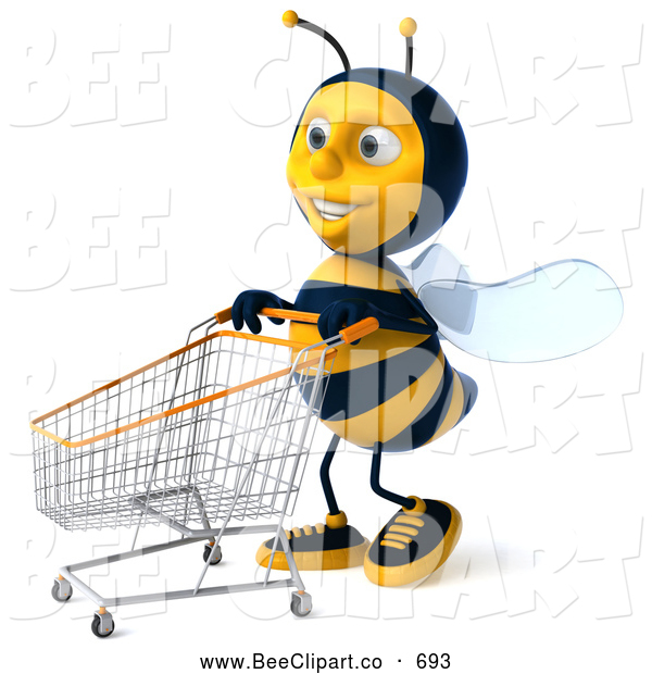 Clip Art of a Happy 3d Bee Character Pushing a Shopping Cart to the Left