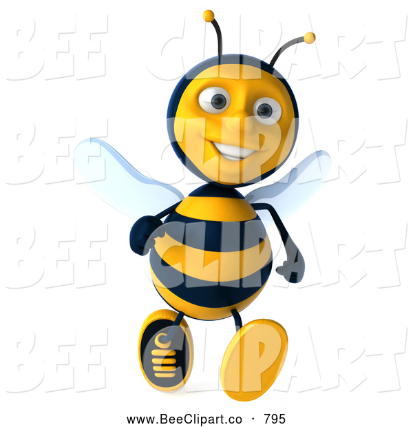 Clip Art of a Happy 3d Bee Character Running