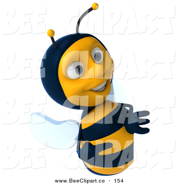 Clip Art of a Happy 3d Bee Character Smiling and Looking at a Blank Sign