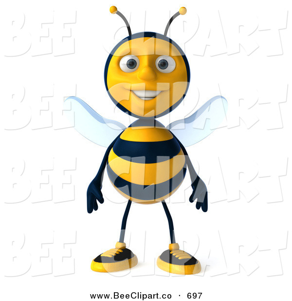 Clip Art of a Happy 3d Bee Character Standing and Facing Front
