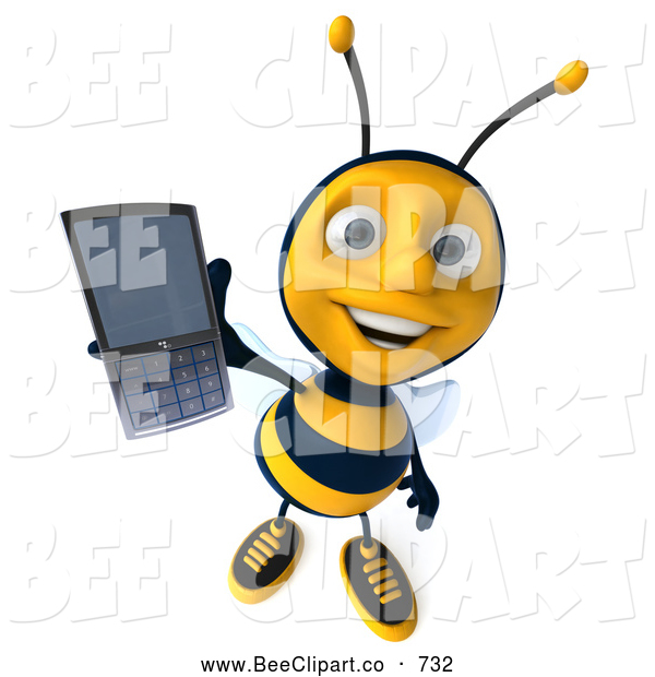 Clip Art of a Happy 3d Bee Holding out a Cell Phone