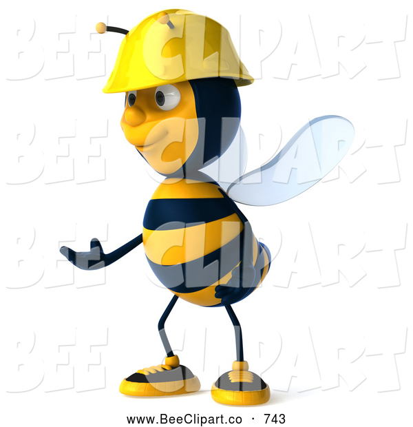 Clip Art of a Happy 3d Worker Bee Facing Left and Gesturing