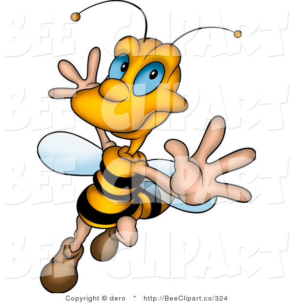 Clip Art of a Happy Honey Bee Dancing and Flying