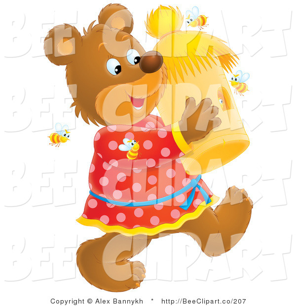Clip Art of a Happy Teddy Bear Carrying a Bee Hive, Surrounded by Bees