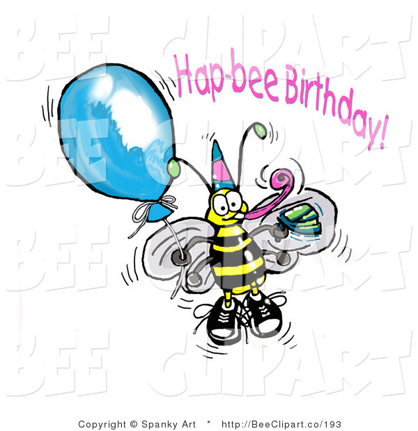 Clip Art of a Happy Yellow Honey Bee Wearing a Party Hat and Holding onto a Blue Balloon at a Birthday Party