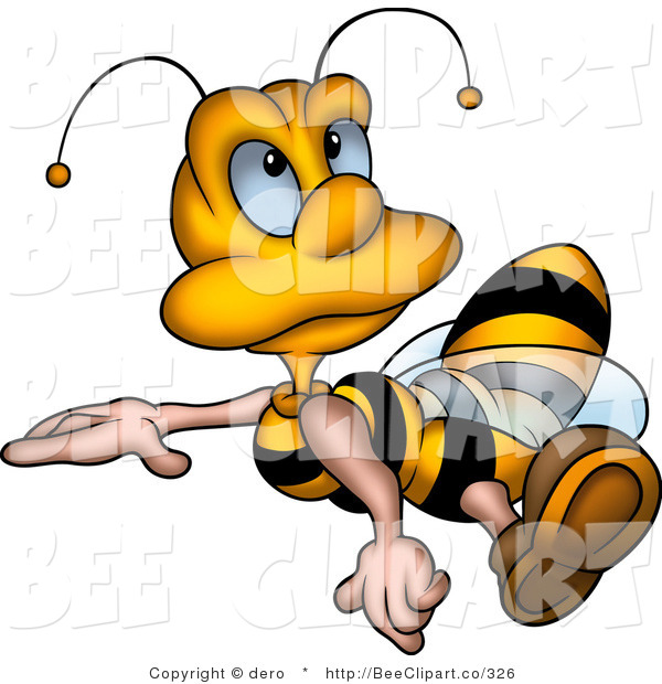 Clip Art of a Little Honey Bee Drone Flying and Looking Upwards