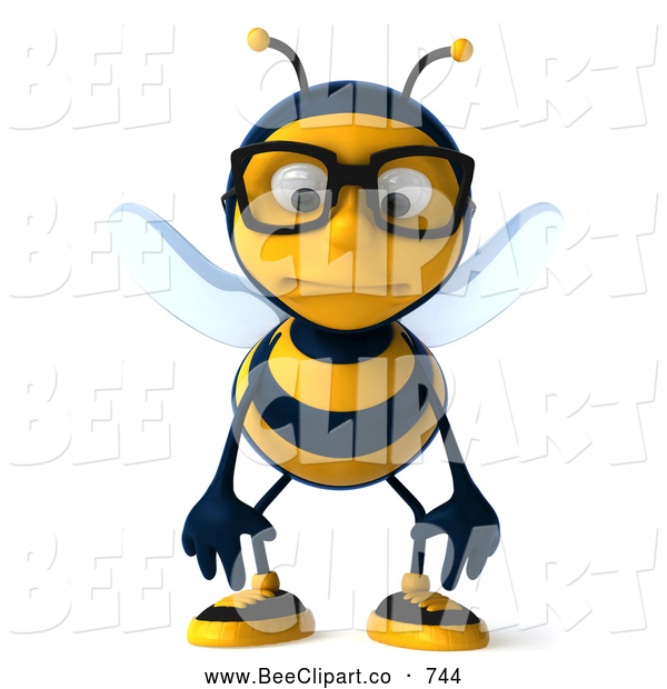 Clip Art of a Nerdy 3d Bee Wearing Glasses and Pouting