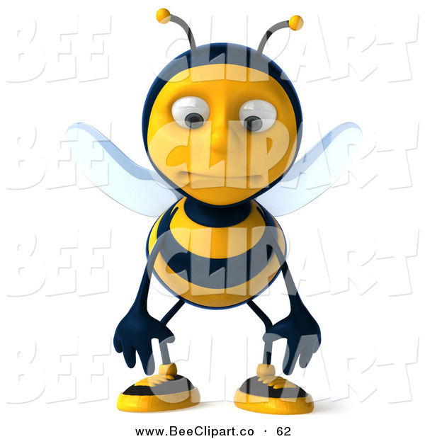 Clip Art of a Nervous 3d Bee Character Standing and Pouting