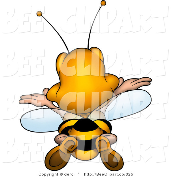 Clip Art of a Rear View of a Bee Flying Away