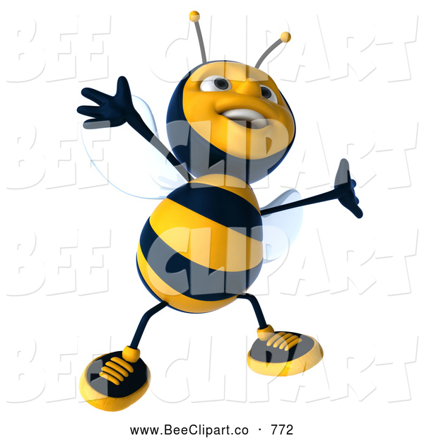 Clip Art of a Smiling 3d Bee Character Dancing