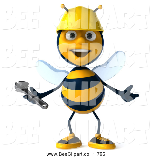 Clip Art of a Smiling 3d Bee Character Holding a Wrench