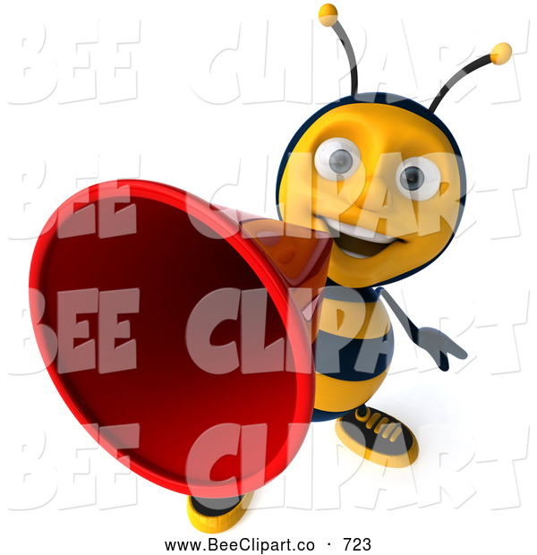 Clip Art of a Smiling 3d Bee Character Making an Announcement
