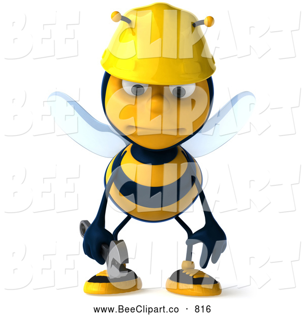 Clip Art of a Smiling 3d Worker Bee Character Pouting