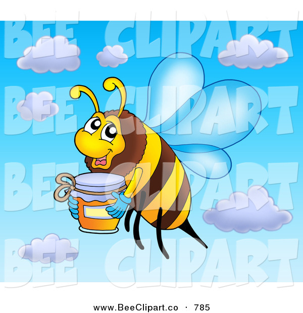Clip Art of a Smiling Flying Bee with a Jar of Honey