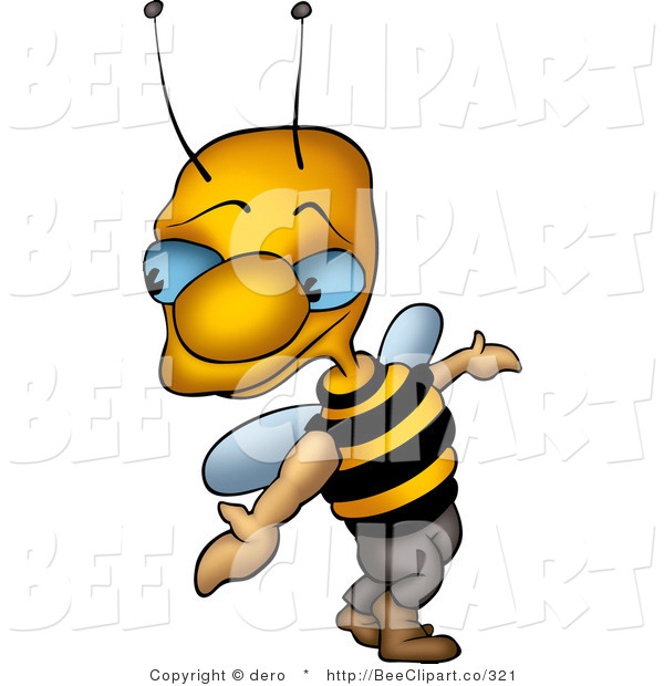 Clip Art of a Sneaky Blue Eyed Bee Looking Back over His Shoulder