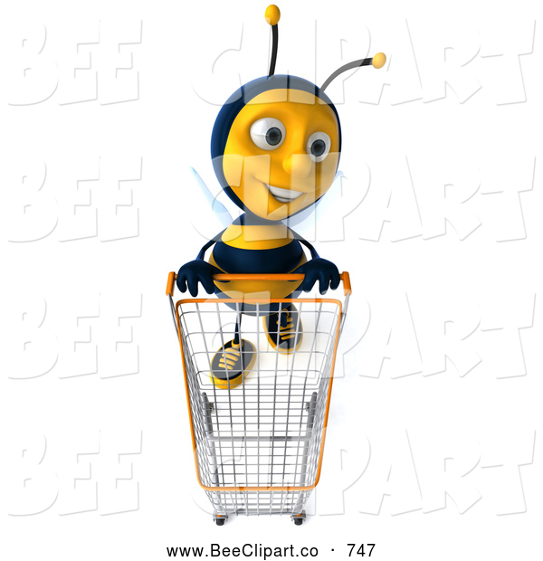 Clip Art of a Stylish Friendly 3d Bee Shopping