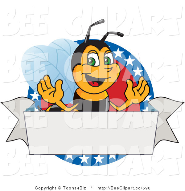 Clip Art of a Worker Bumble Bee Character Logo Mascot on a Patriotic Star Circle