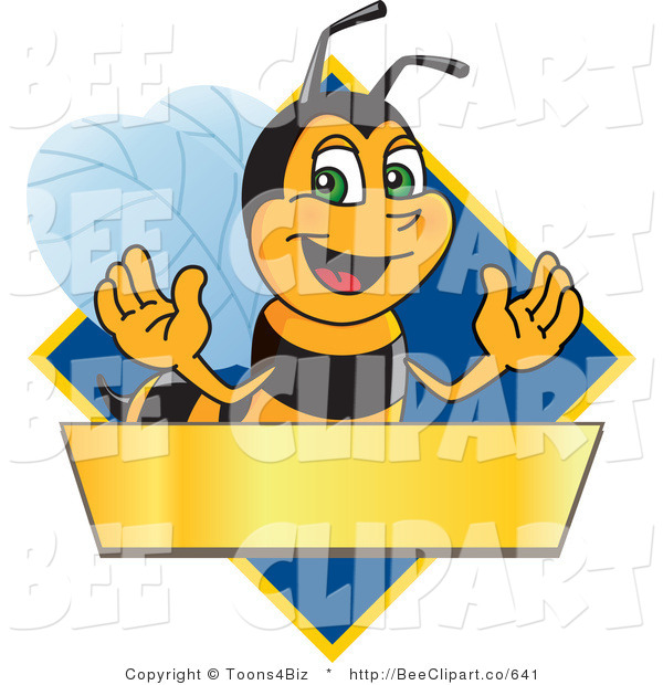 Clip Art of a Worker Bumble Bee Character Logo Mascot over a Blank Banner on a Blue Diamond