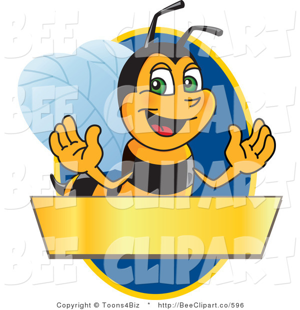 Clip Art of a Worker Bumble Bee Character Logo Mascot over a Blank Banner on a Blue Oval