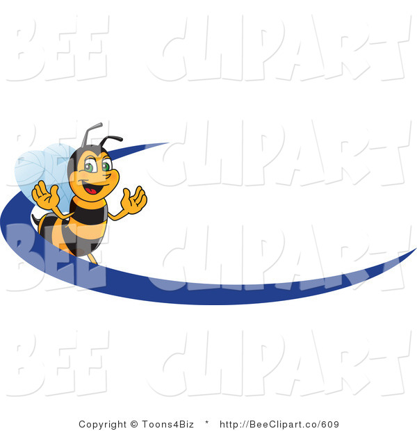 Clip Art of a Worker Bumble Bee Character Logo Mascot with a Blue Dash
