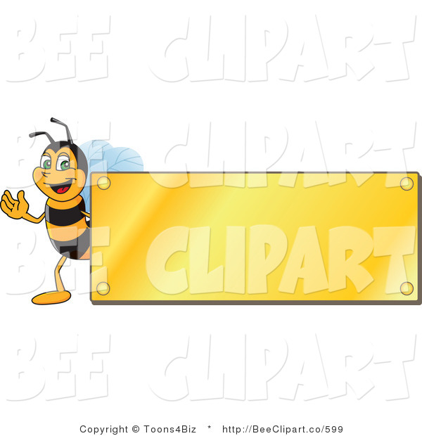 Clip Art of a Worker Bumble Bee Character Logo Mascot with a Gold Plaque