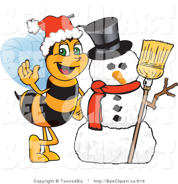 Clip Art of a Worker Bumble Bee Character Mascot by a Snowman