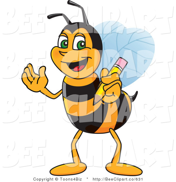 Clip Art of a Worker Bumble Bee Character Mascot Holding a Pencil