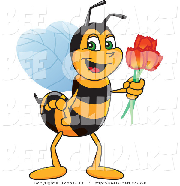 Clip Art of a Worker Bumble Bee Character Mascot Holding Tulips