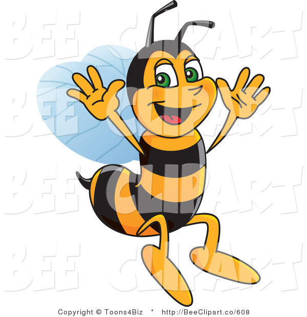 Clip Art of a Worker Bumble Bee Character Mascot Jumping