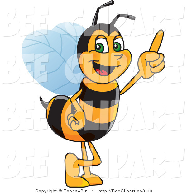 Clip Art of a Worker Bumble Bee Character Mascot Pointing Upwards
