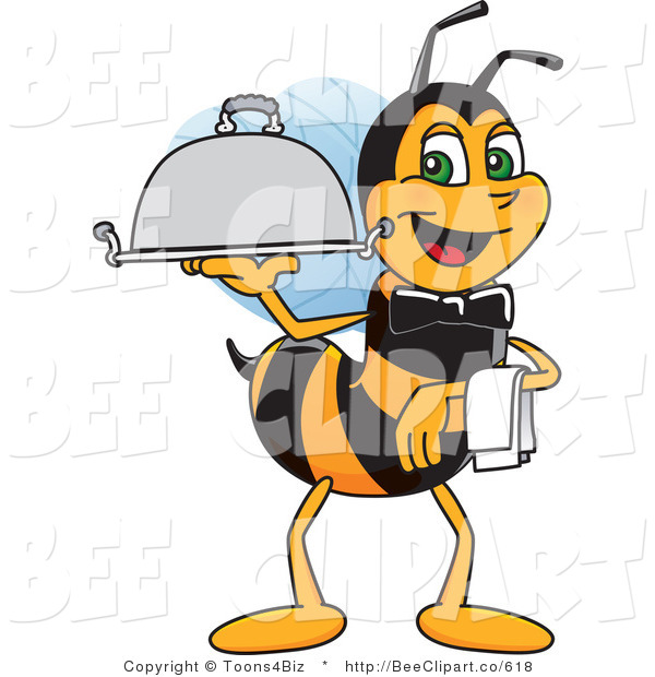Clip Art of a Worker Bumble Bee Character Mascot Serving a Platter