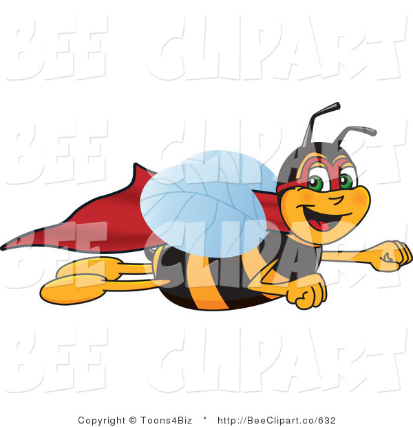 Clip Art of a Worker Bumble Bee Character Mascot Super Hero