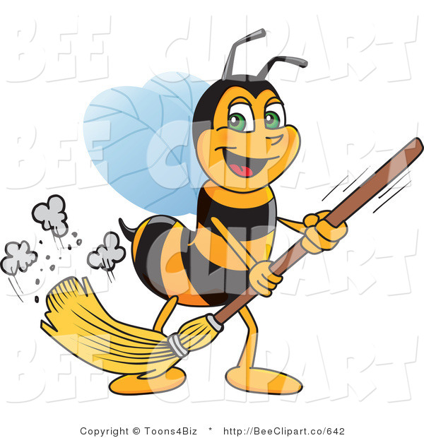 Clip Art of a Worker Bumble Bee Character Mascot Sweeping