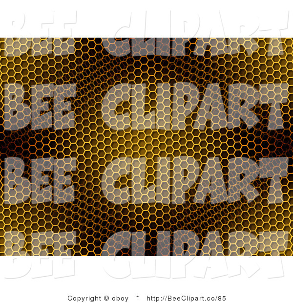 Clip Art of a Yellow and Brown Diamond Light on a Honeycomb Background