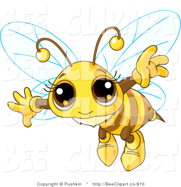Clip Art of an Adorable Bee Flying